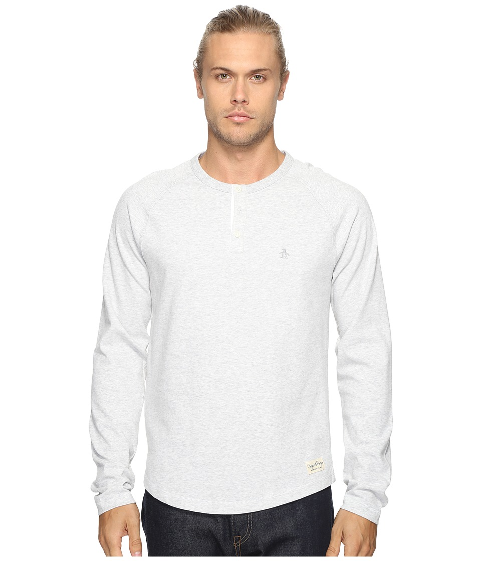 Original Penguin - Vintage Gym Long Sleeve Sueded Plated Henley (Mirage Gray) Men's Long Sleeve Pullover