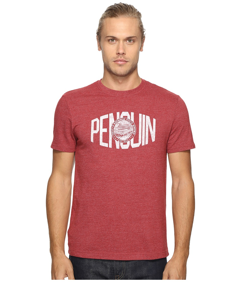Original Penguin - Vintage Gym Short Sleeve Athletic Warped Type Tee (Pomegranate) Men's T Shirt