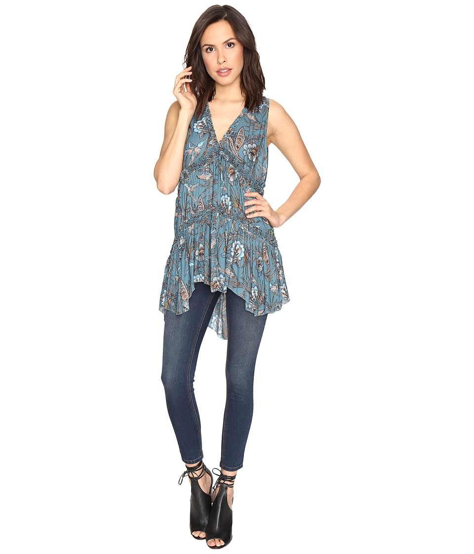 Free People - Purple Haze Printed Tunic (Turquoise) Women's Clothing