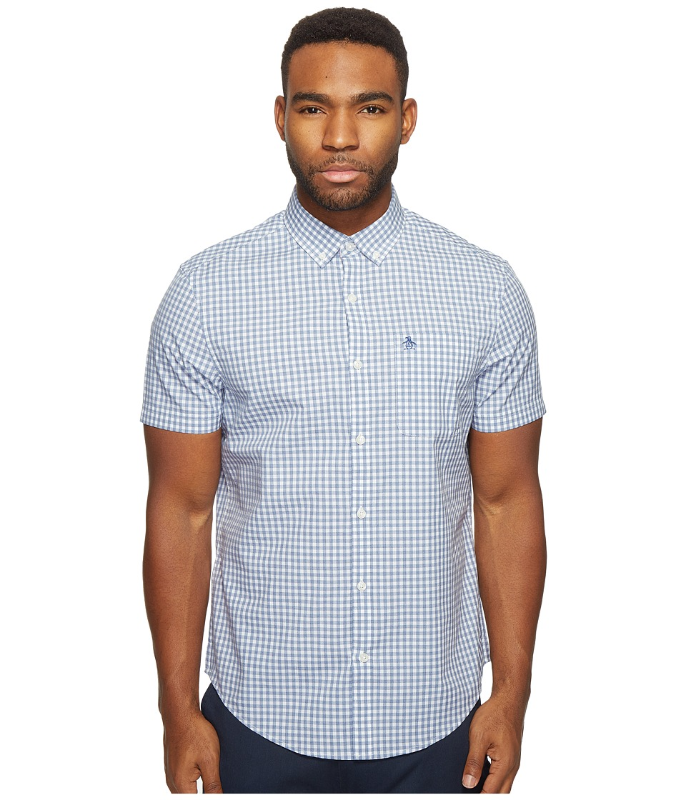 Original Penguin - Short Sleeve Gingham Jaspe Woven Shirt (Monaco Blue) Men's Short Sleeve Button Up