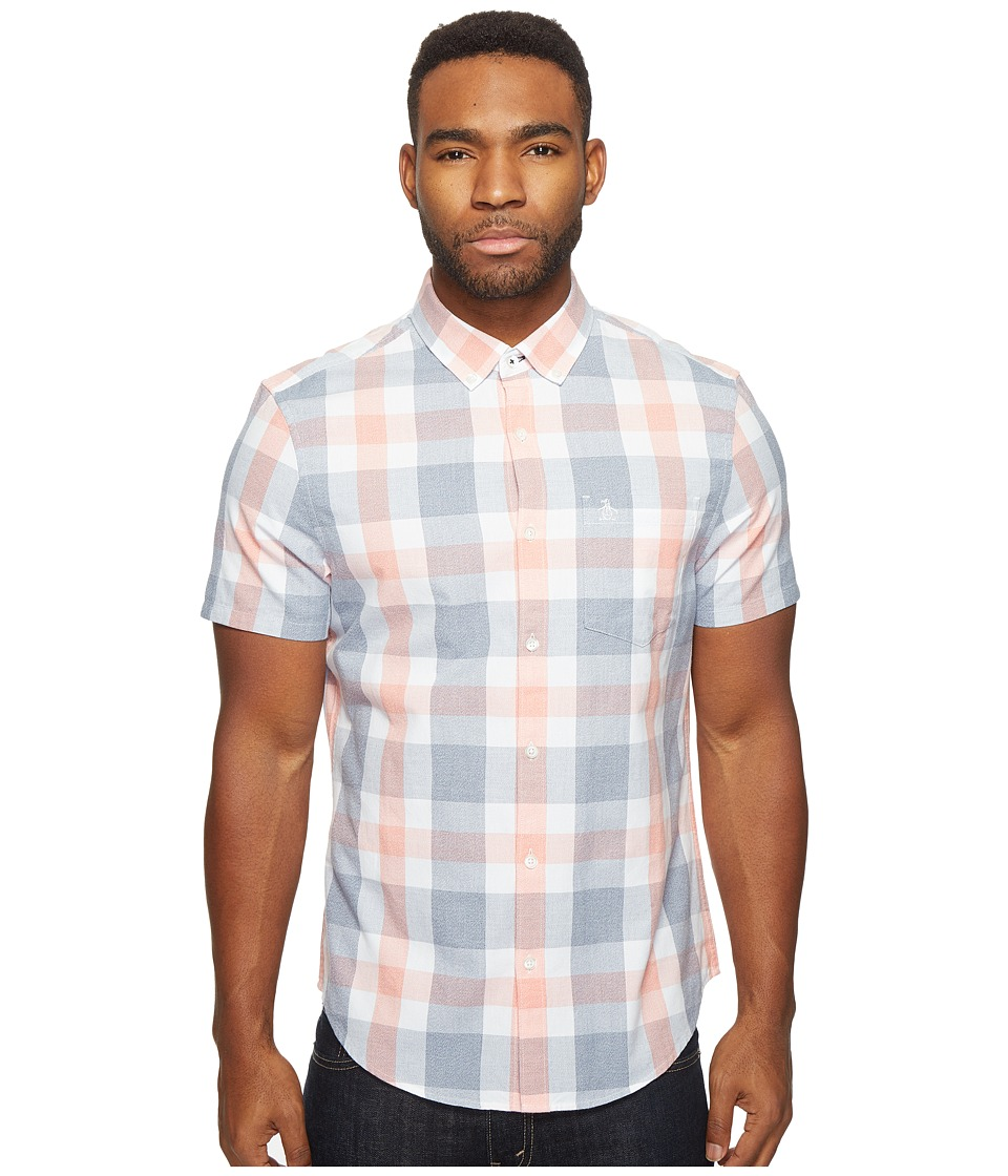 Original Penguin - Short Sleeve Jaspe Plaid Woven Shirt (Bering Sea) Men's Short Sleeve Button Up