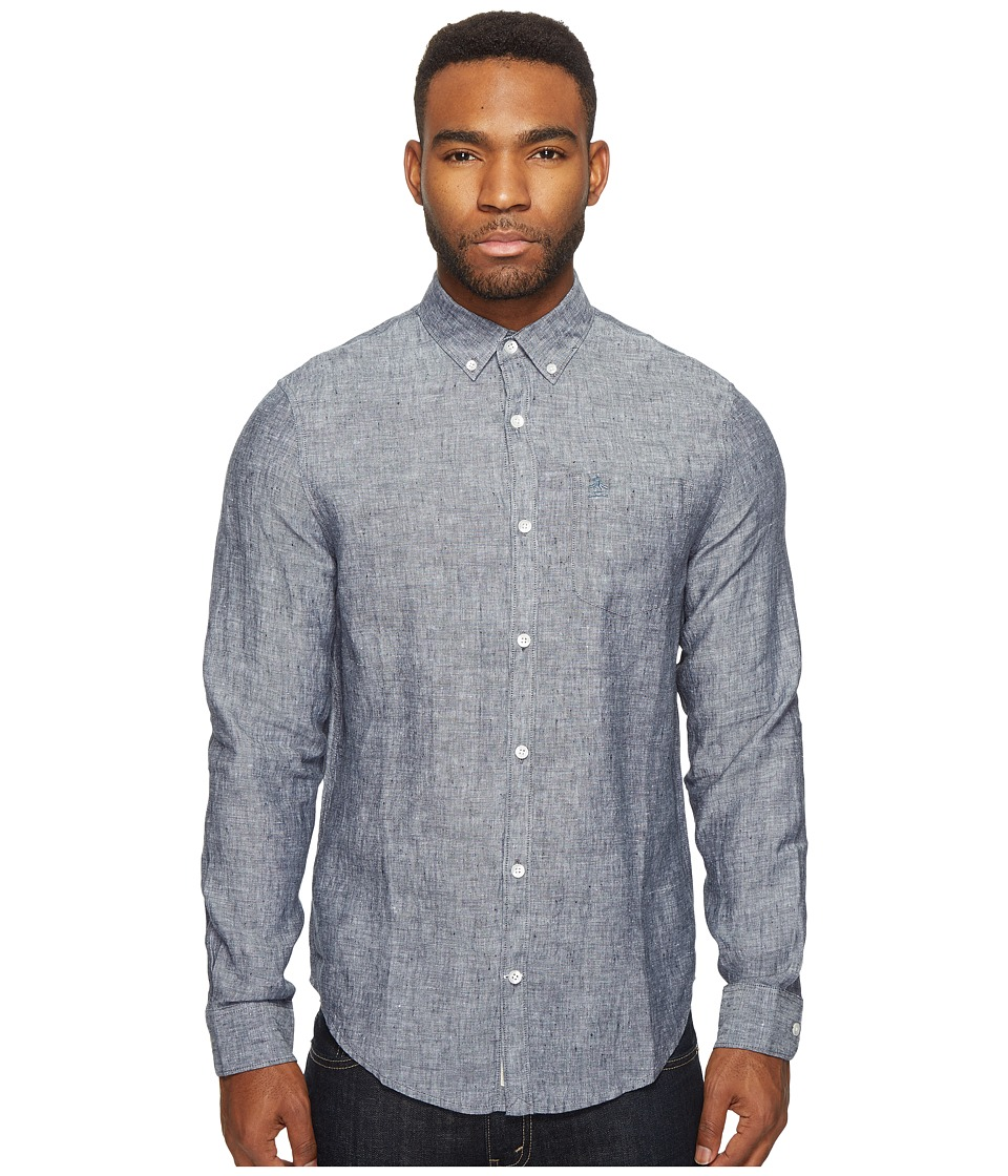 Original Penguin - Long Sleeve Nep Linen Non-Solid Solid Woven Shirt (Dark Sapphire) Men's Long Sleeve Button Up