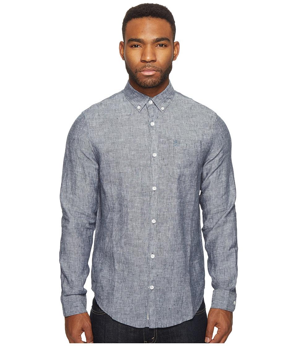 Original Penguin - Long Sleeve Nep Linen Non-Solid Solid Woven Shirt (Dark Sapphire) Men's Long Sleeve Button Up