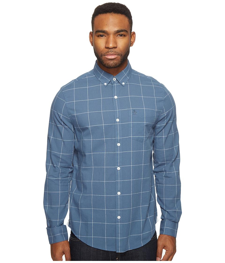 Original Penguin - Long Sleeve Lawn Windowpane Woven Shirt (Bering Sea) Men's Long Sleeve Button Up