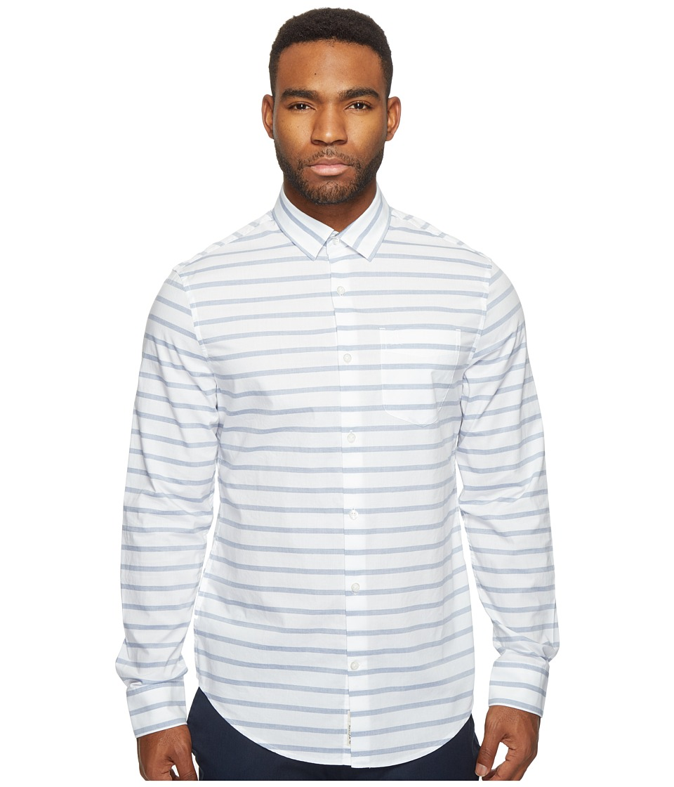 Original Penguin - Long Sleeve Horizontal Jaspe Woven Shirt (Monaco Blue) Men's Long Sleeve Button Up