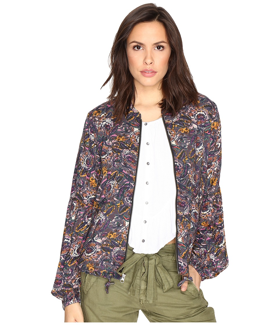 Free People - Soft Printed Baloon Sleeve Jacket (Black) Women's Coat