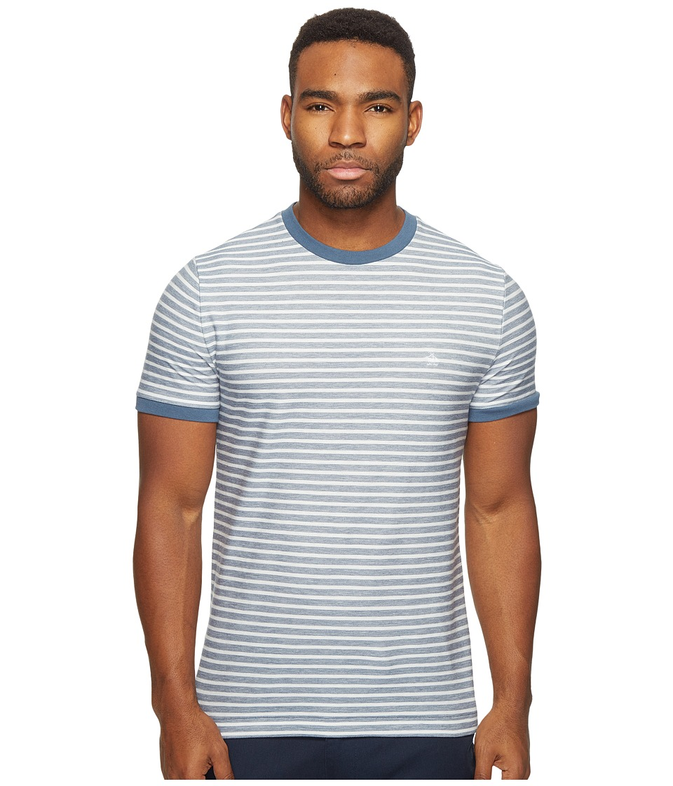 Original Penguin - Short Sleeve Twill Auto Stripe Tee (Bering Sea) Men's T Shirt