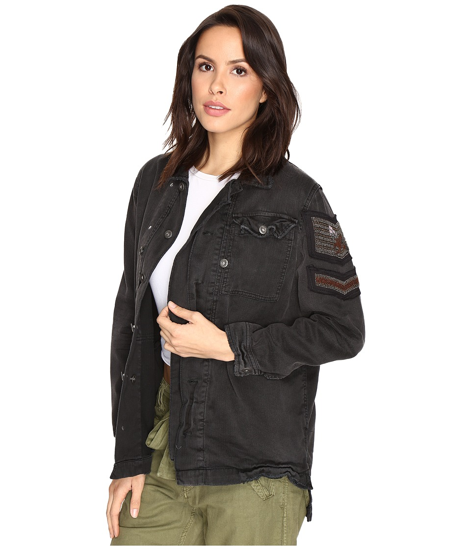 Free People - Embellished Military Shirt Jacket (Black) Women's Coat