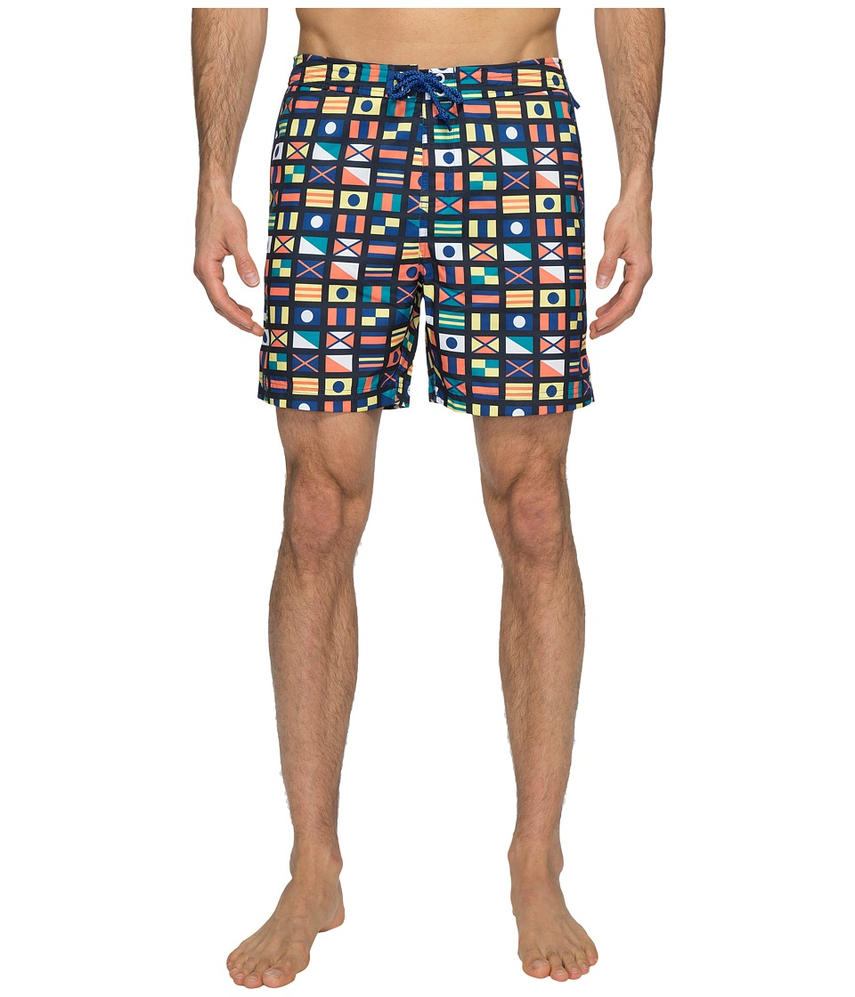 Original Penguin Nautical Flag Printed Swim Shorts (Monaco Blue) Men