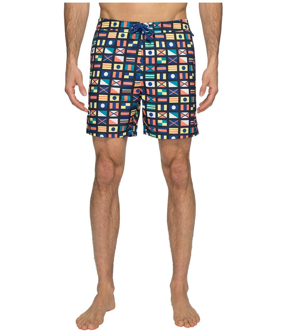 Original Penguin - Nautical Flag Printed Swim Shorts (Monaco Blue) Men's Swimwear