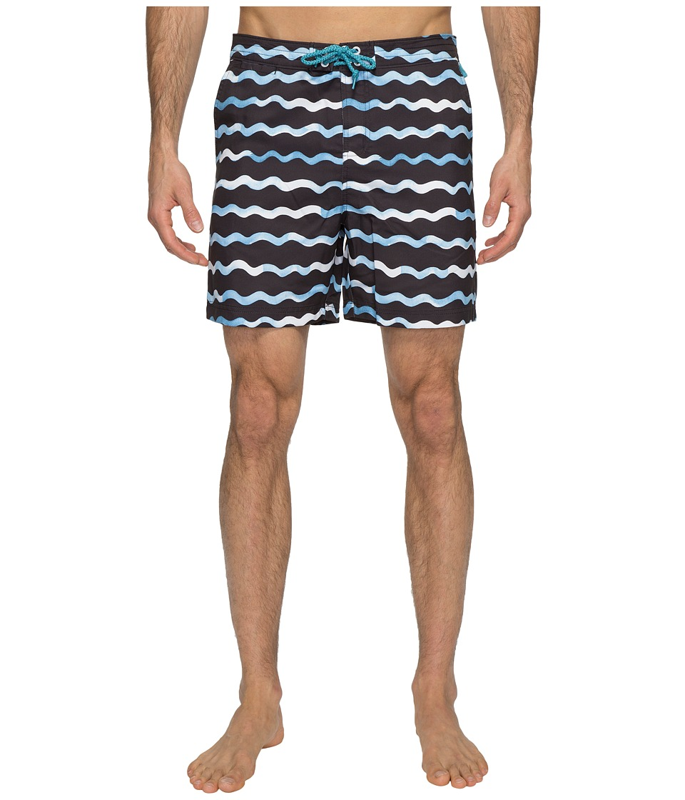 Original Penguin Watercolor Wave Print Swim Shorts (Dark Sapphire) Men