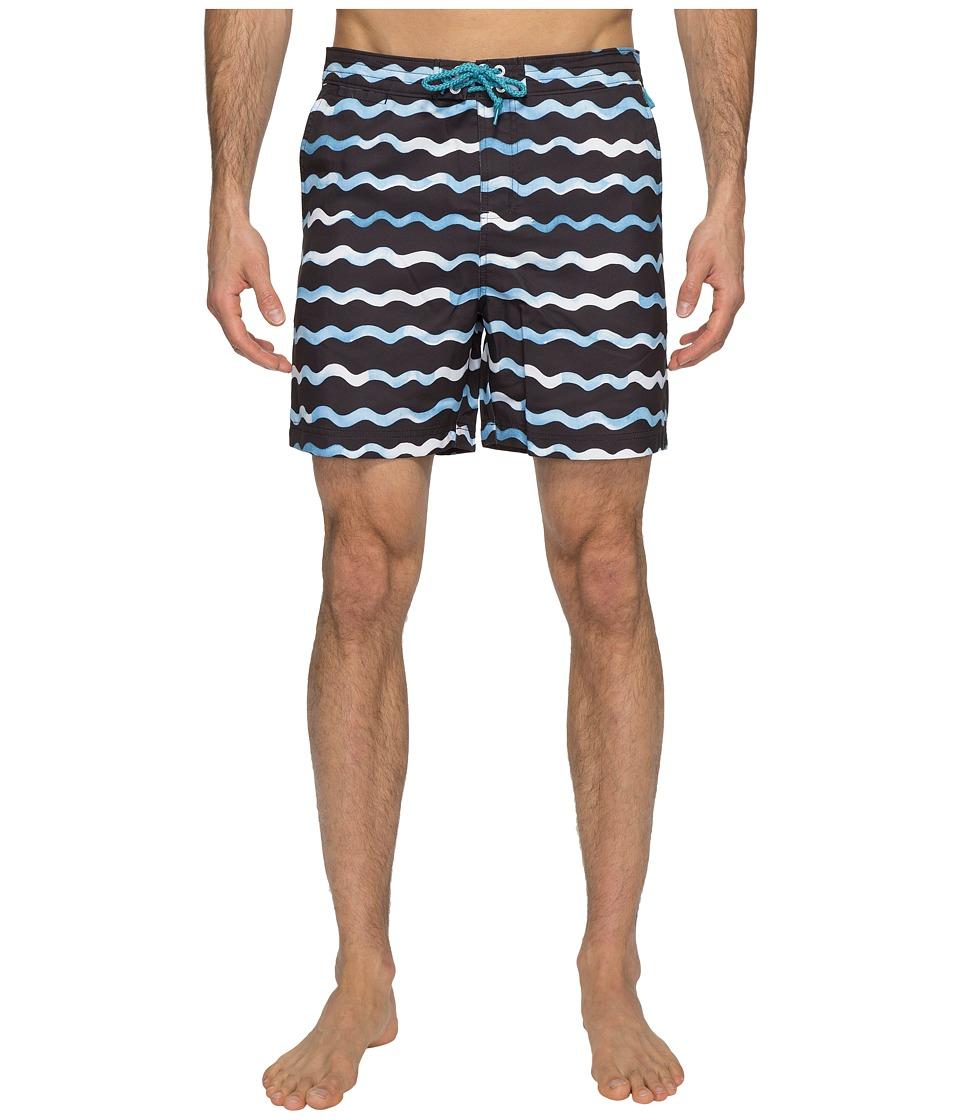 Original Penguin - Watercolor Wave Print Swim Shorts (Dark Sapphire) Men's Swimwear