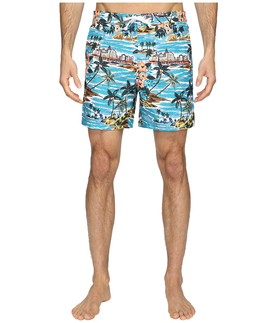 Original Penguin - Tropical Printed Fixed Waist Swim Shorts (Pagoda Blue) Men's Swimwear