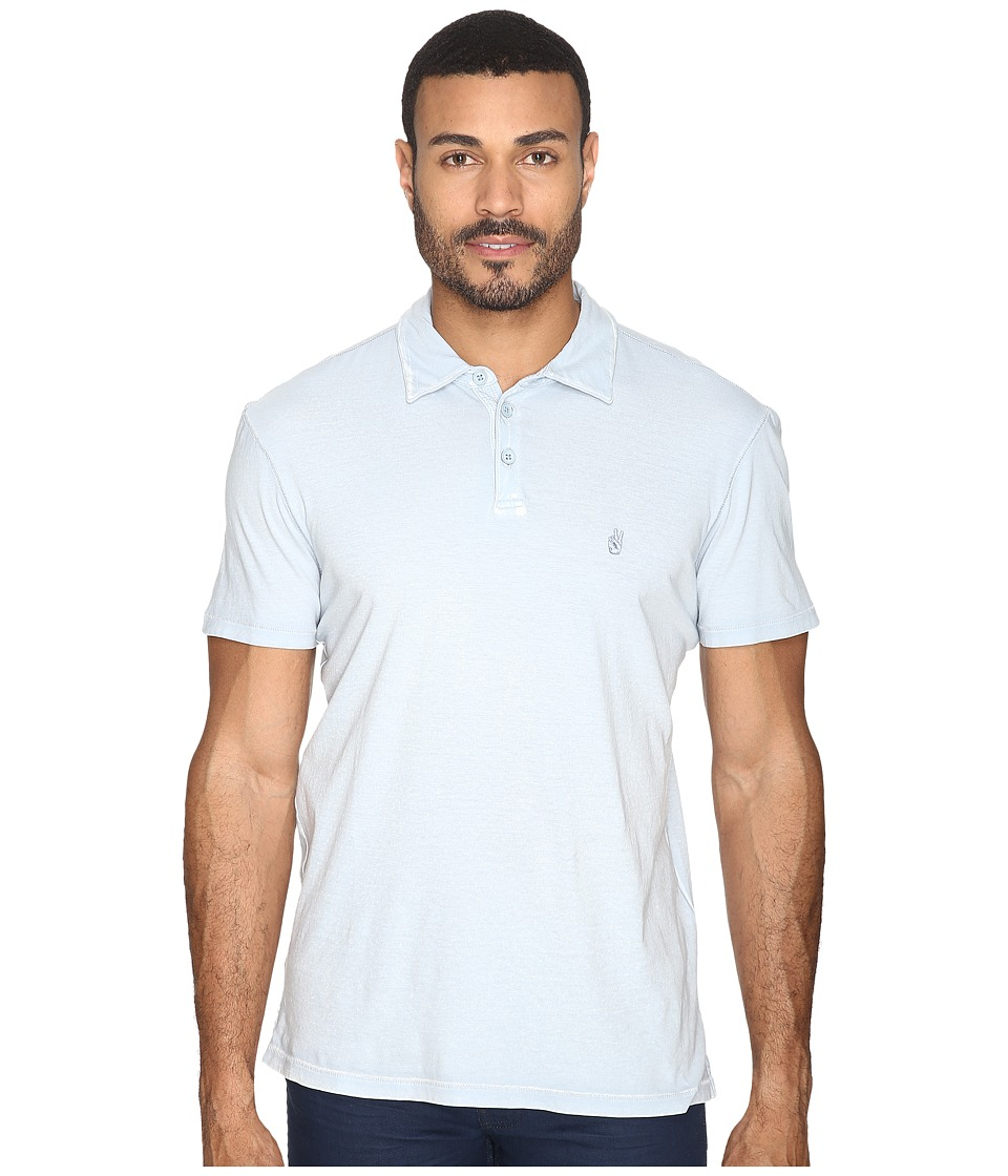 John Varvatos Star U.S.A. - Soft Collar Peace Polo with Peace Sign Chest Embroidery K1381S4B (Blue Mist) Men's Clothing