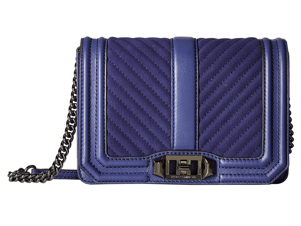 Rebecca Minkoff - Chevron Quilted Small Love Crossbody (Eclipse) Cross Body Handbags