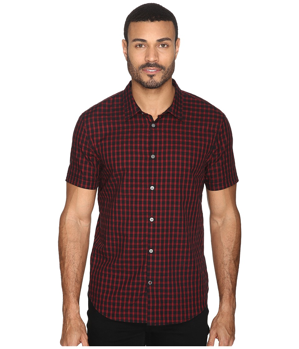 John Varvatos Star U.S.A. - Slim Fit Sport Shirt with Cuffed Short Sleeves W443S4B (Black) Men's Clothing