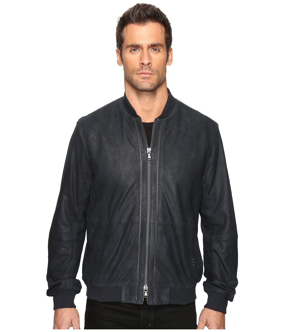 John Varvatos Star U.S.A. - Zip Front Leather Bomber with Rib Trim At Collar Cuffs and Waist L1000S4B (Eclipse) Men's Coat