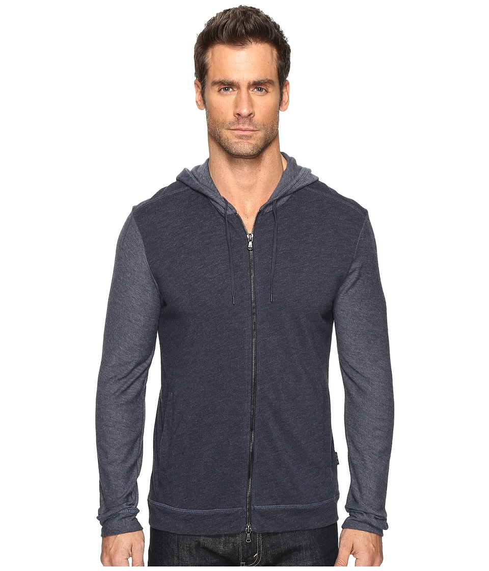 John Varvatos Star U.S.A. - Long Sleeve Zip Front Knit Hoodie with Reverse Jersey Sleeves and Hood K2905S4B (Night Sky) Men's Sweatshirt