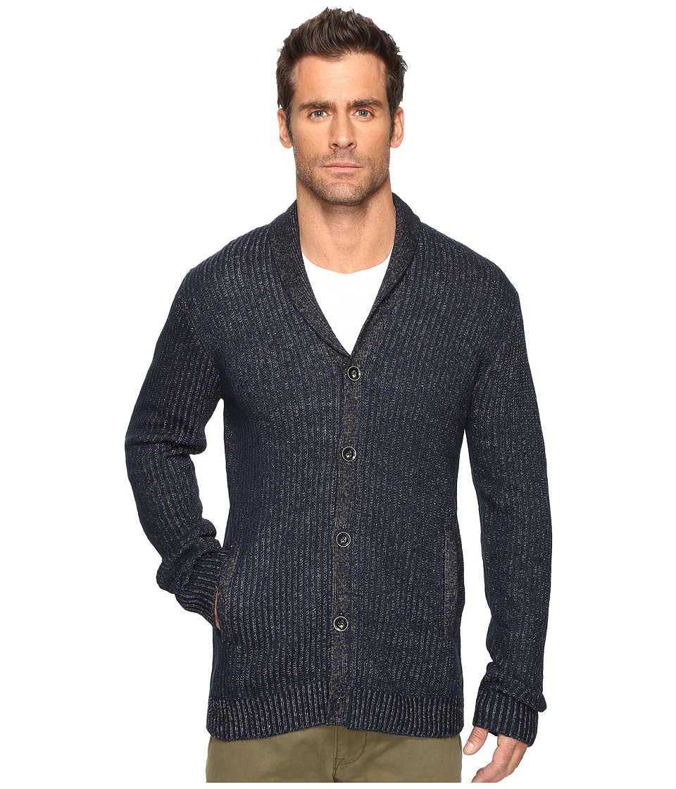 John Varvatos Star U.S.A. - Shawl Collar Cardigan Sweater with Military Rib Stitch Y1431S4B (Night Sky) Men's Sweater