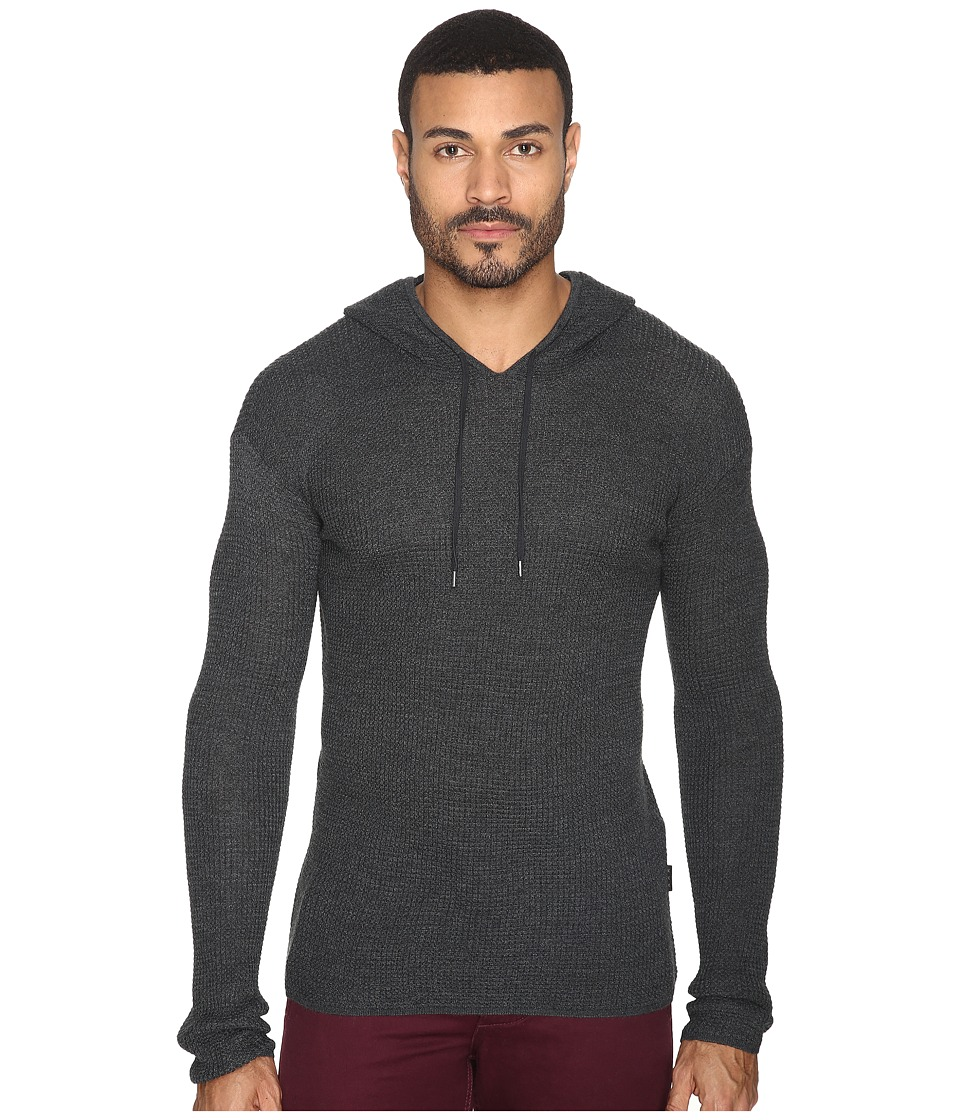 John Varvatos Star U.S.A. - Waffle Stitch Long Sleeve Drop Shoulder Pullover Hoodie Sweater Y1471S4B (Graphite) Men's Sweater