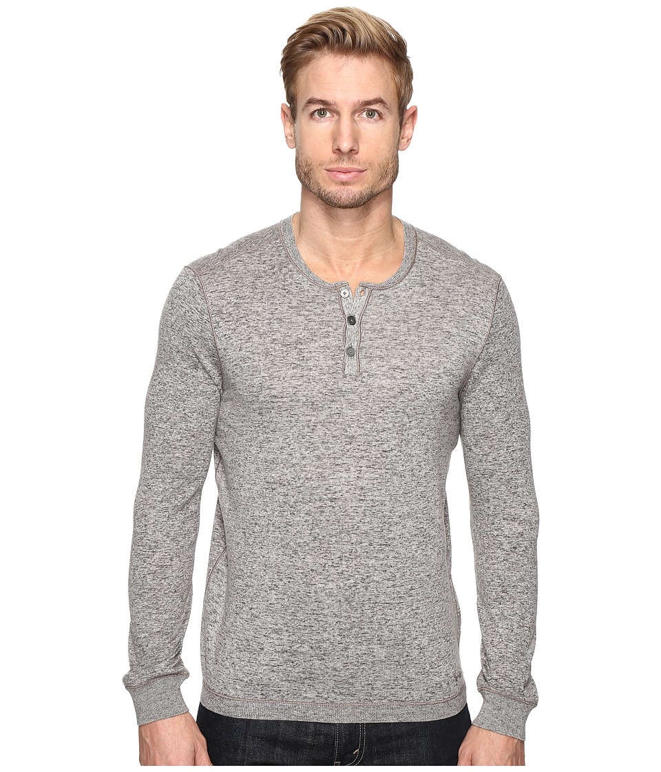 John Varvatos Star U.S.A. - Long Sleeve Henley Sweater with Coverstitch Detail Y1443S4B (Reflection Grey) Men's Sweater