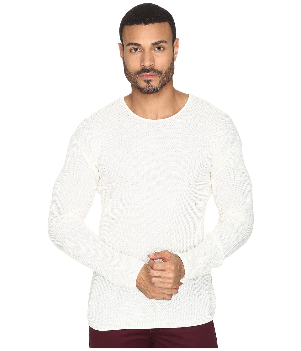 John Varvatos Star U.S.A. - Waffle Stitch Long Sleeve Drop Shoulder Crew Neck Sweater Y1231S4B (Salt) Men's Sweater