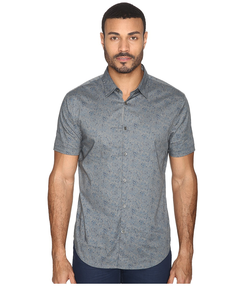 John Varvatos Star U.S.A. - Slim Fit Sport Shirt with Cuffed Short Sleeves W444S4L (Smoke Grey) Men's Clothing