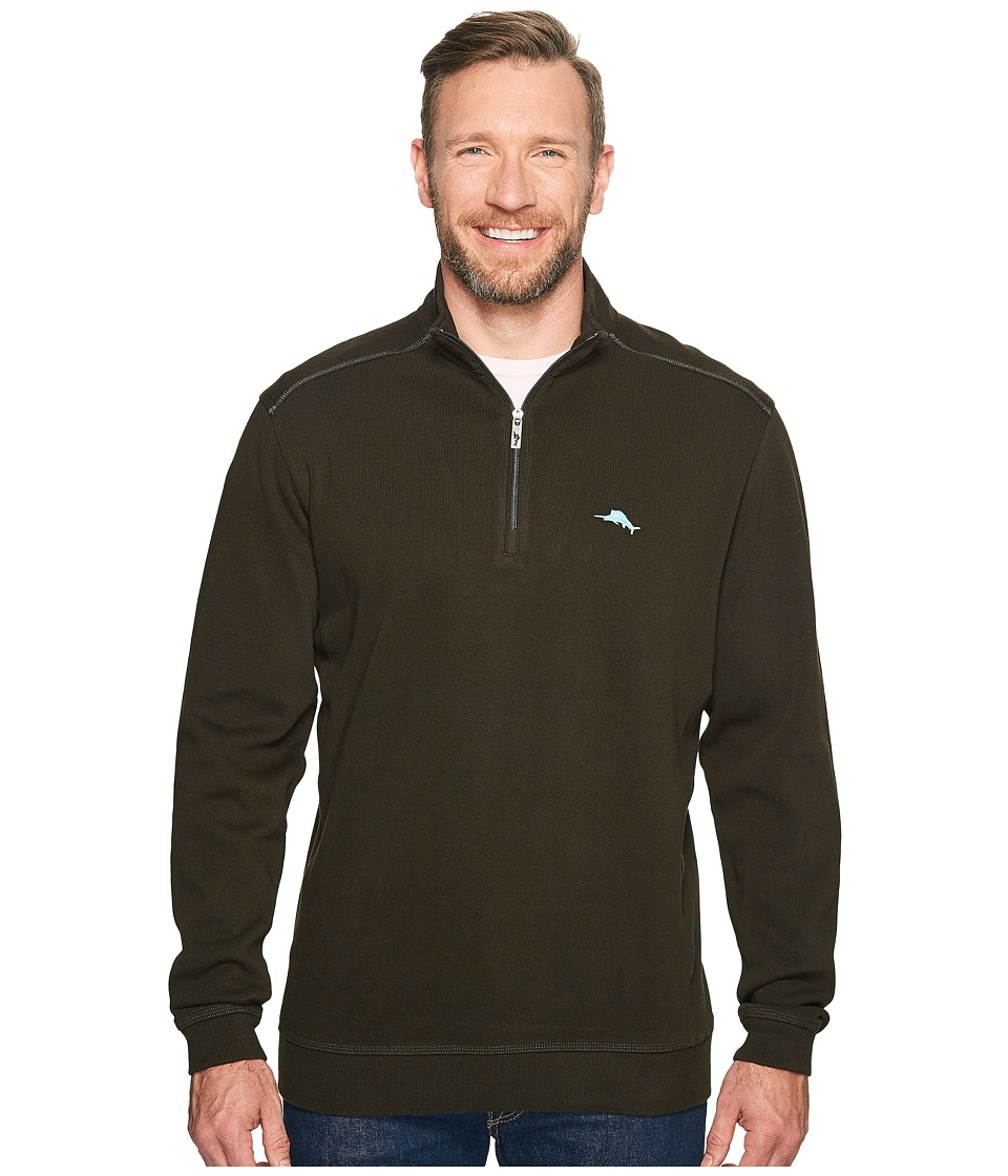 Tommy Bahama Big & Tall - Big Tall Nassau 1/2 Zip (Black) Men's Clothing