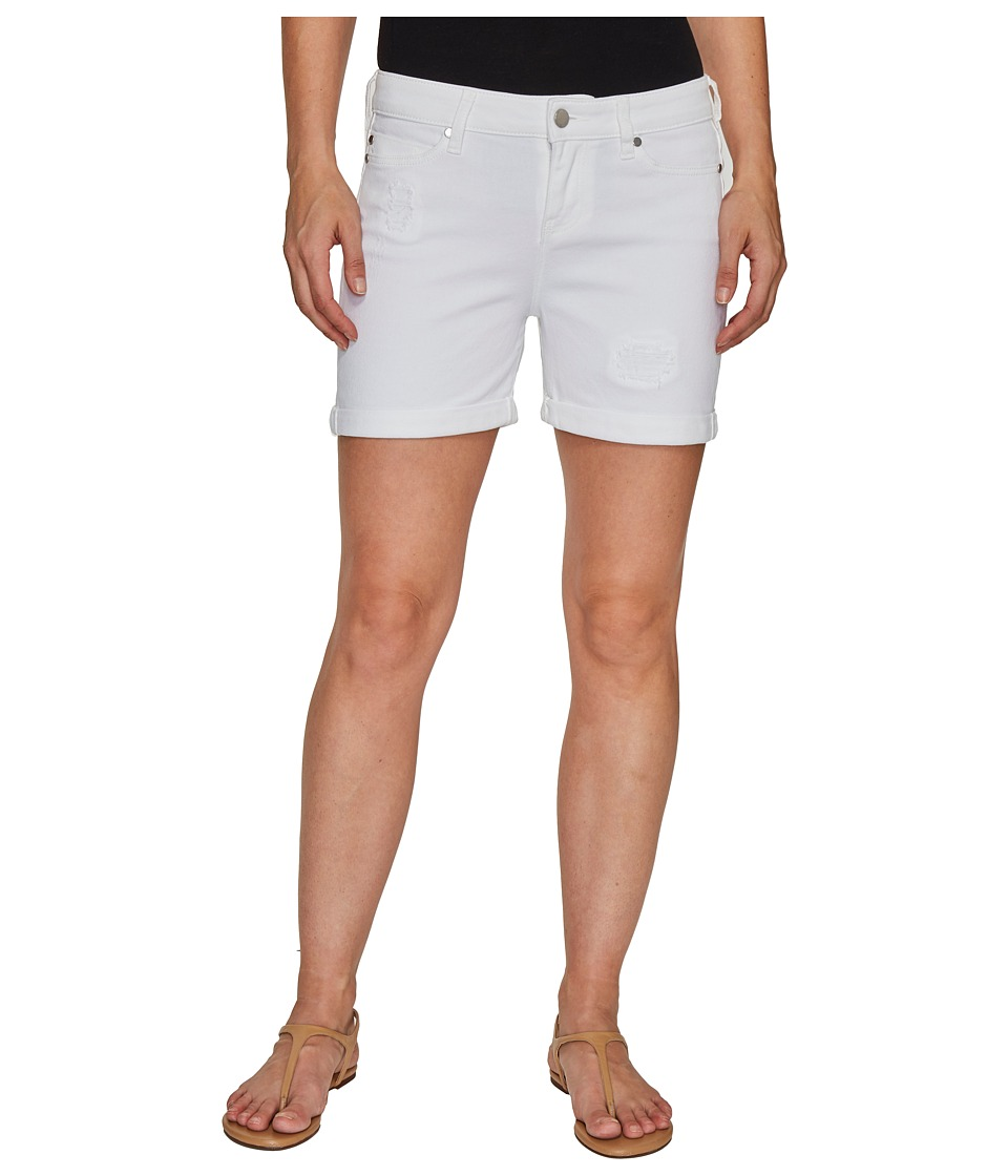 Liverpool - Vicki Rolled-Cuff Shorts with Destruct Detail on Super Soft Stretch Denim in Bright White (Bright White) Women's Shorts