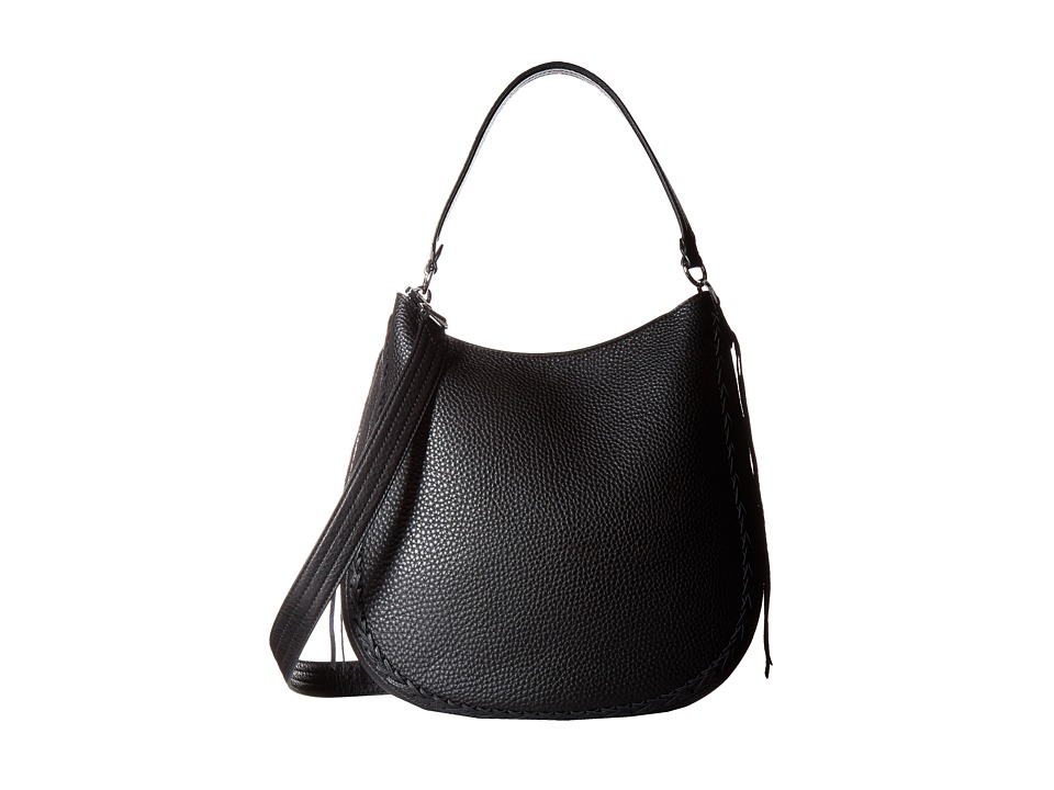 Rebecca Minkoff - Unlined Convertible Hobo with Whipstitch (Black) Hobo Handbags