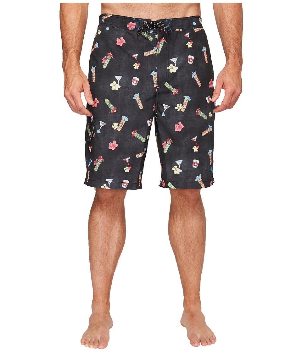 Tommy Bahama Big & Tall - Big Tall Baja Tiki Tiki Tini (Coal) Men's Swimwear