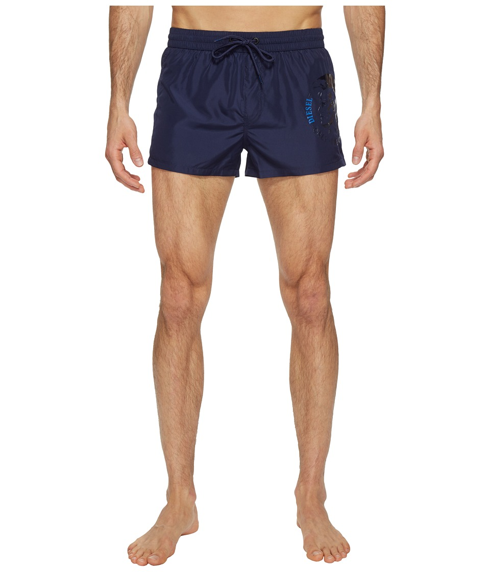 Diesel Sandy Quick Dry Light Microfiber 2 inch Swim Shorts w/ Mohican Head Graphic WAKV (Navy/Blue) Men