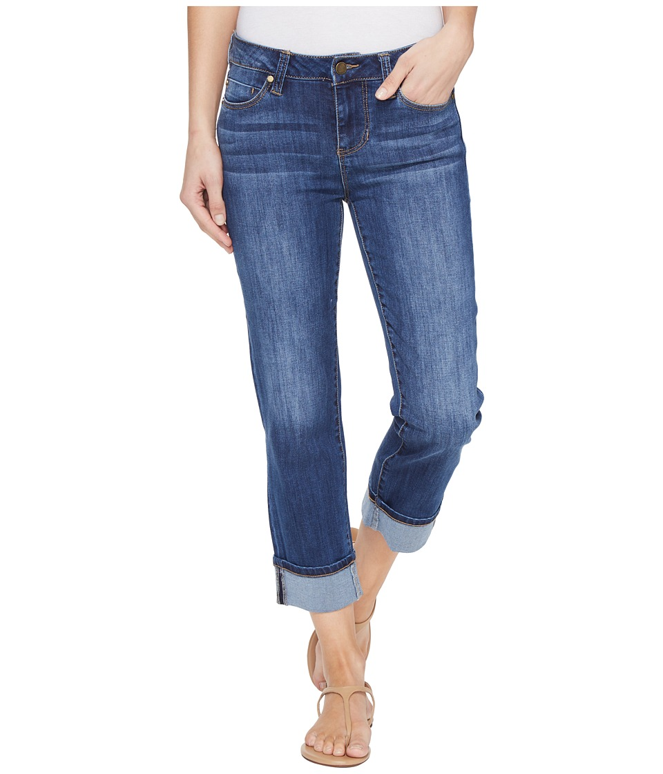 Liverpool - Gwen Wide Cuff Capris Vintage Super Comfort Stretch Denim in Montauk Mid Blue (Montauk Mid Blue) Women's Jeans
