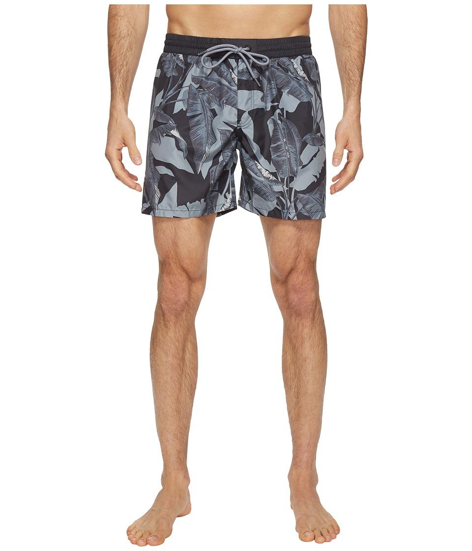 Diesel - Sandy Leaf Camo Print 6 inch Swim Boxer LANU (Black/Grey) Men's Swimwear