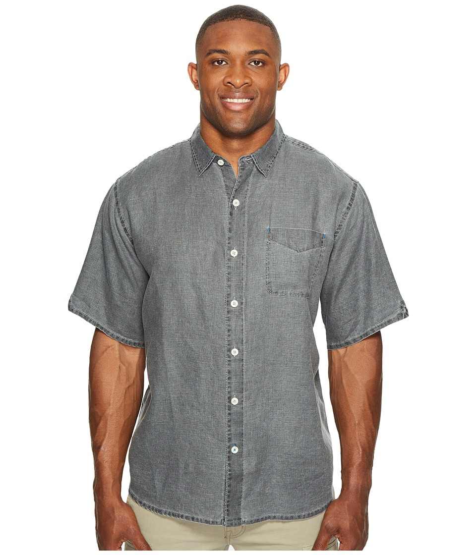 Tommy Bahama Big & Tall - Big Tall New S/S Sea Glass Breezer Camp Shirt (Coal) Men's Short Sleeve Button Up