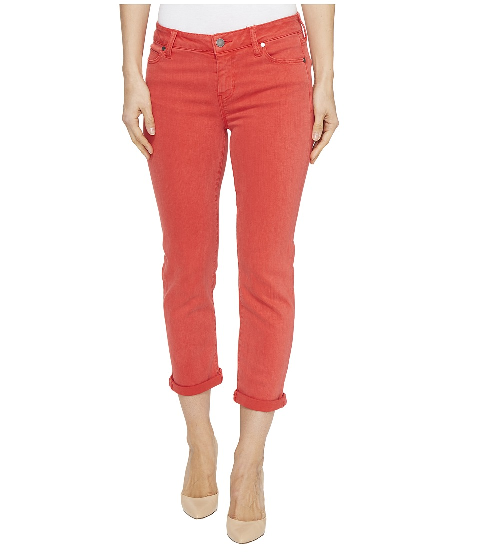 Liverpool - Michelle Rolled-Cuff Capris in Pigment Dyed Slub Stretch Twill in Ribbon Red (Ribbon Red) Women's Jeans