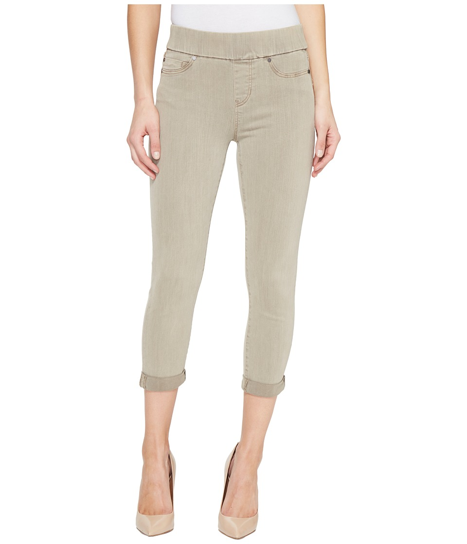 Liverpool Sienna Pull-On Rolled-Cuff Capris in Pigment Dyed Slub Stretch Twill in Pure Cashmere (Pure Cashmere) Women