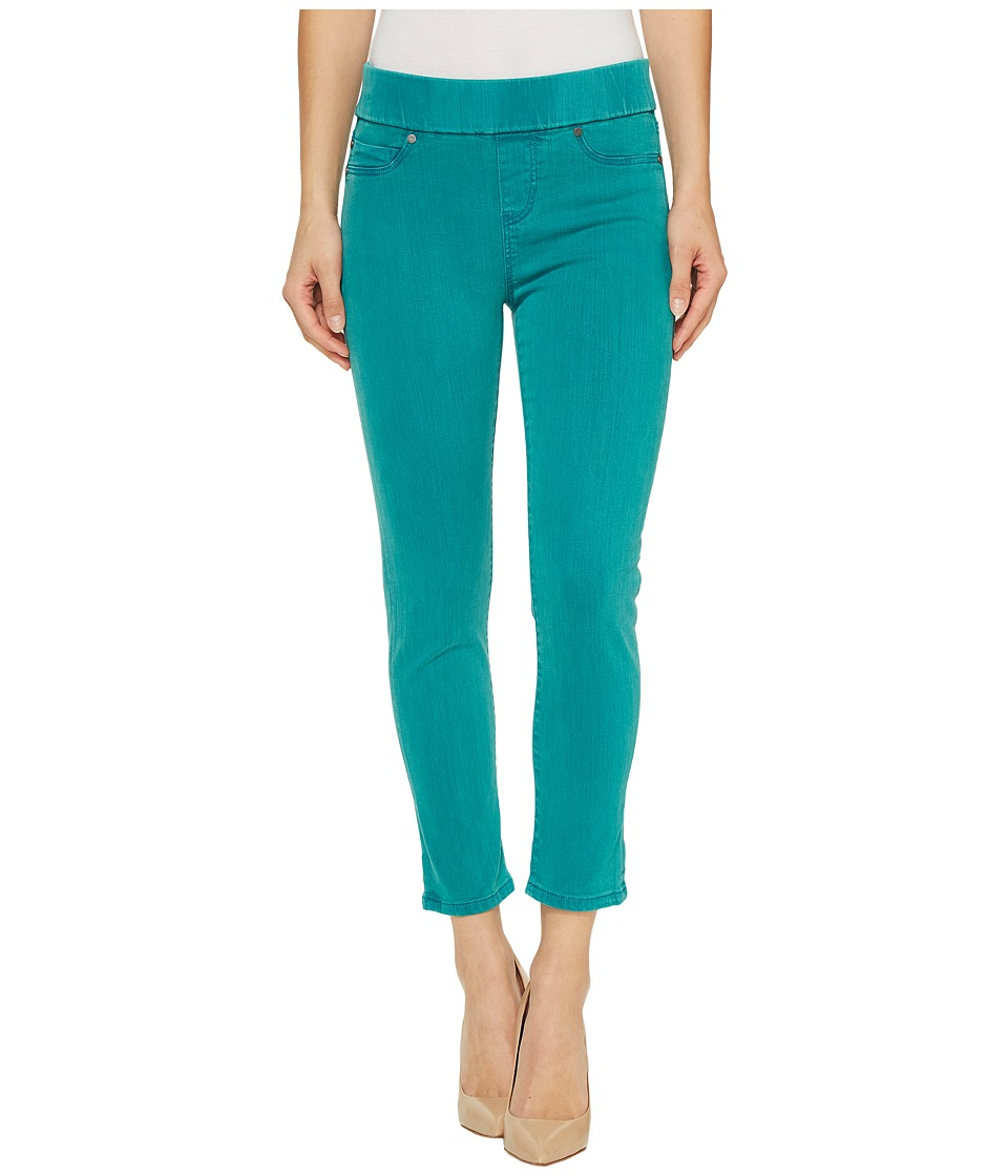 Liverpool Sienna Pull-On Rolled-Cuff Capris in Pigment Dyed Slub Stretch Twill in Fanfare Blue (Fanfare Blue) Women