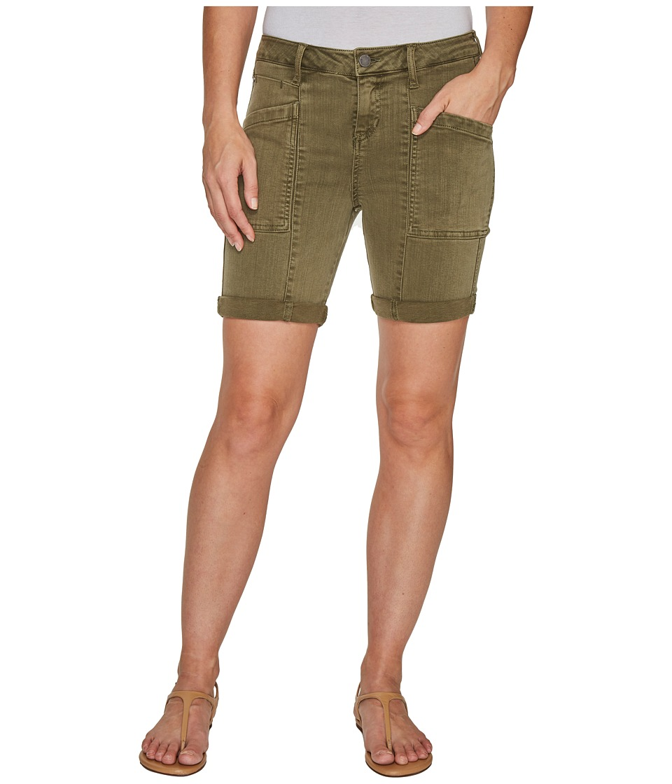 Liverpool - Kylie Cargo Shorts with Flat Patch Pockets on Pigment Dyed Slub Stretch Twill in Olive Night (Olive Night) Women's Shorts