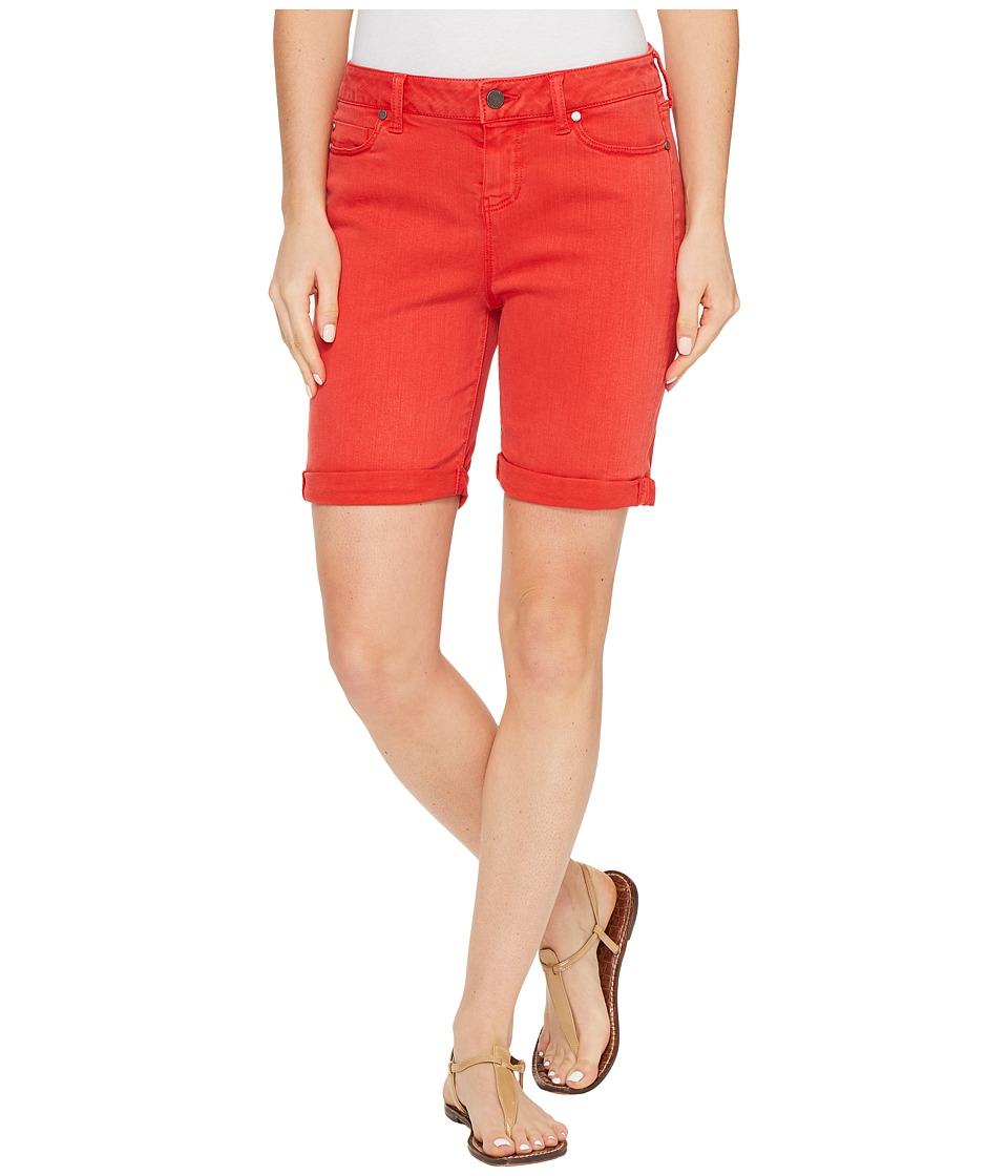 Liverpool - Corine Rolled-Cuff Walking Shorts in Pigment Dyed Stretch Slub Twill in Ribbon Red (Ribbon Red) Women's Shorts