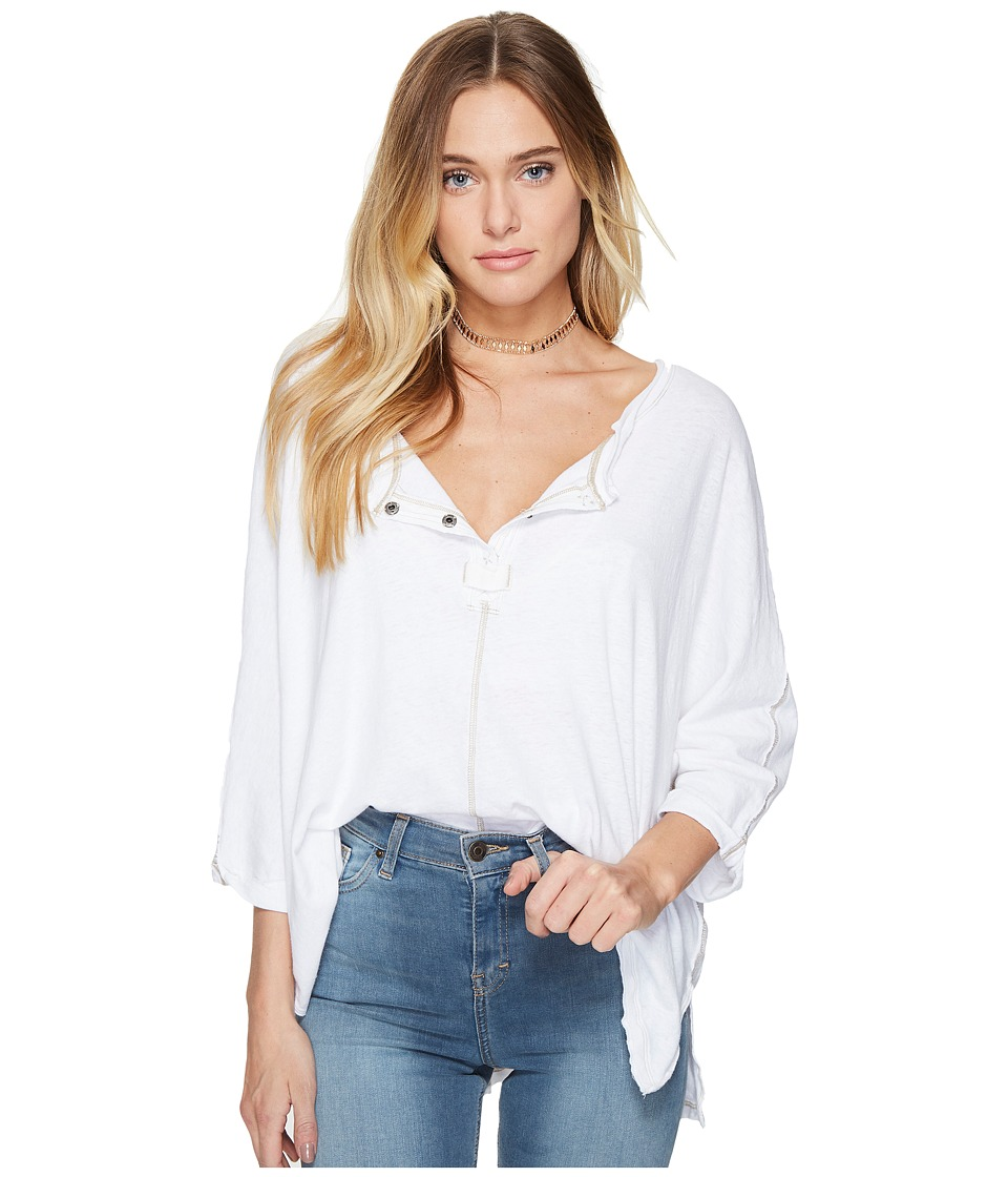Free People - First Base Henley (White) Women's Clothing