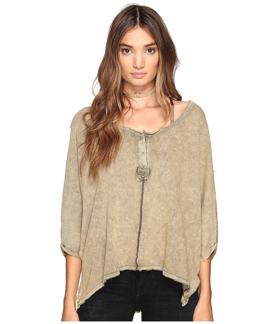 Free People - First Base Henley (Moss) Women's Clothing