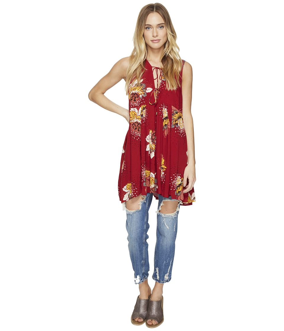 Free People - Lovely Day Printed Tee (Red) Women's Clothing