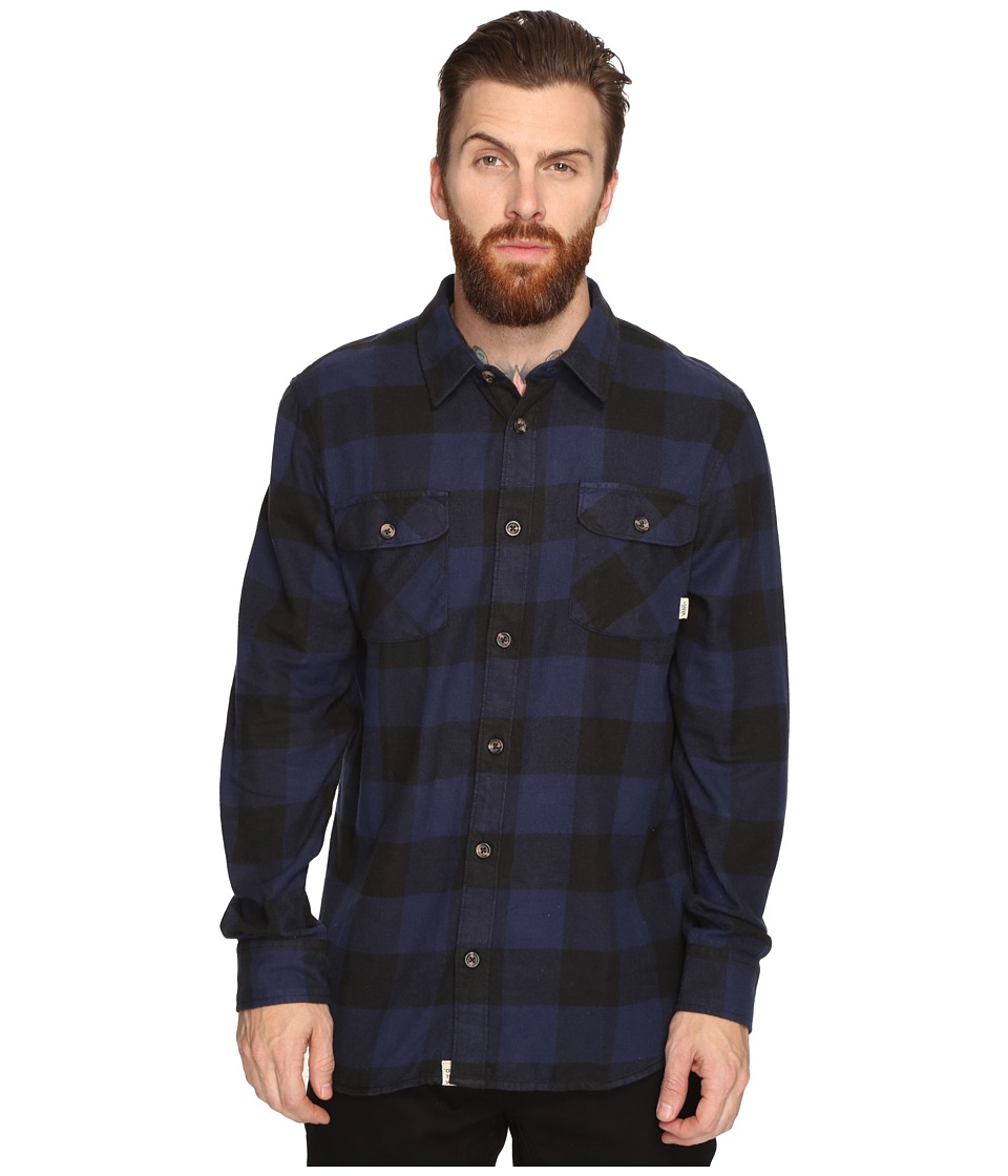 Vans Hixon Light Flannel Shirt (Dress Blues/Black) Men