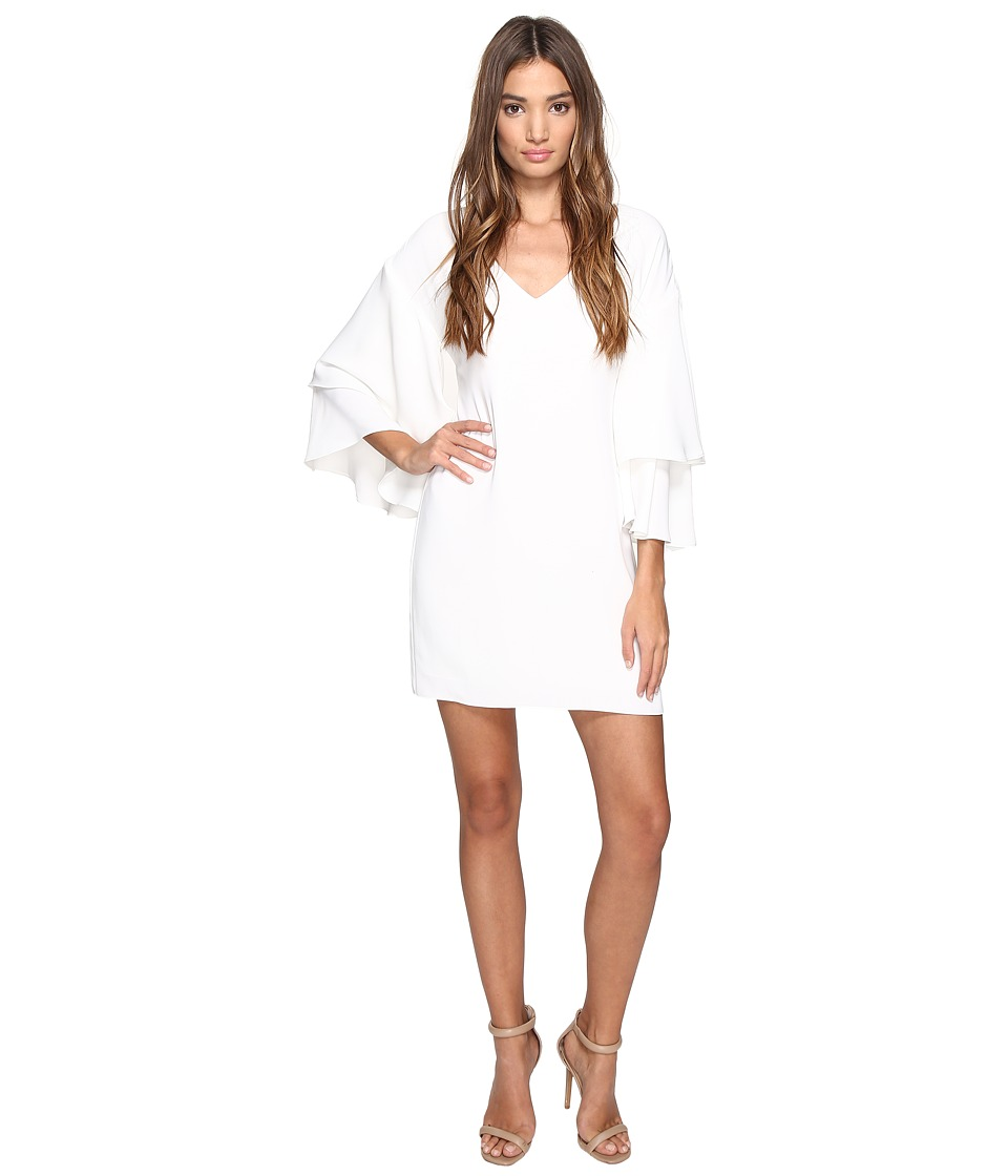 Laundry by Shelli Segal - Drop Shoulder Ruffle Bell Sleeve Dress (Marshmallow) Women's Dress