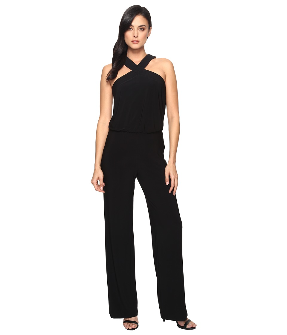 Laundry by Shelli Segal - Crisscross Neckline Wide Leg Jumpsuit (Black) Women's Jumpsuit & Rompers One Piece