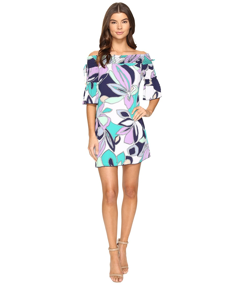 Laundry by Shelli Segal - Off the Shoulder Print Dress w/ Smocking (English Lavender) Women's Dress