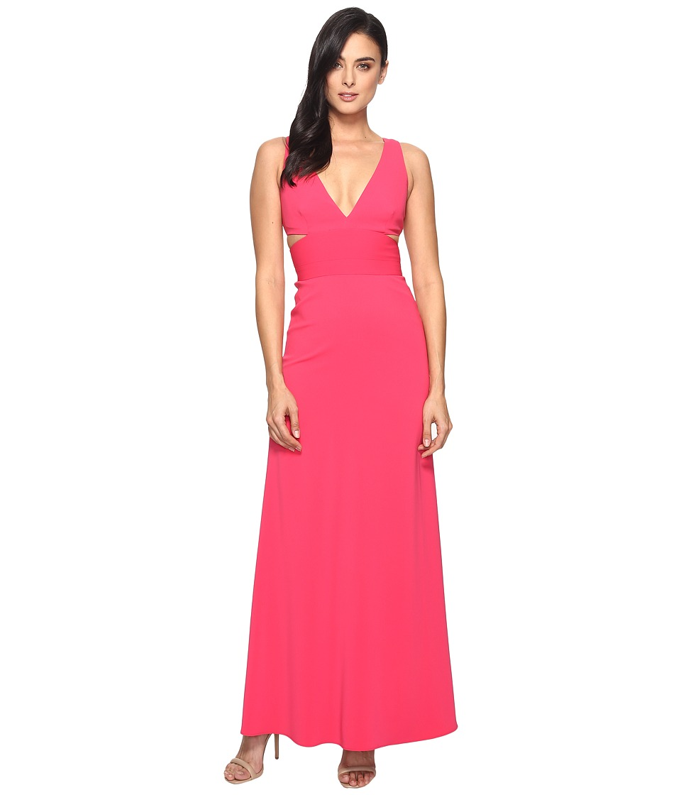 Laundry by Shelli Segal V-Neck Gown w/ Cut Outs (Raspberry) Women