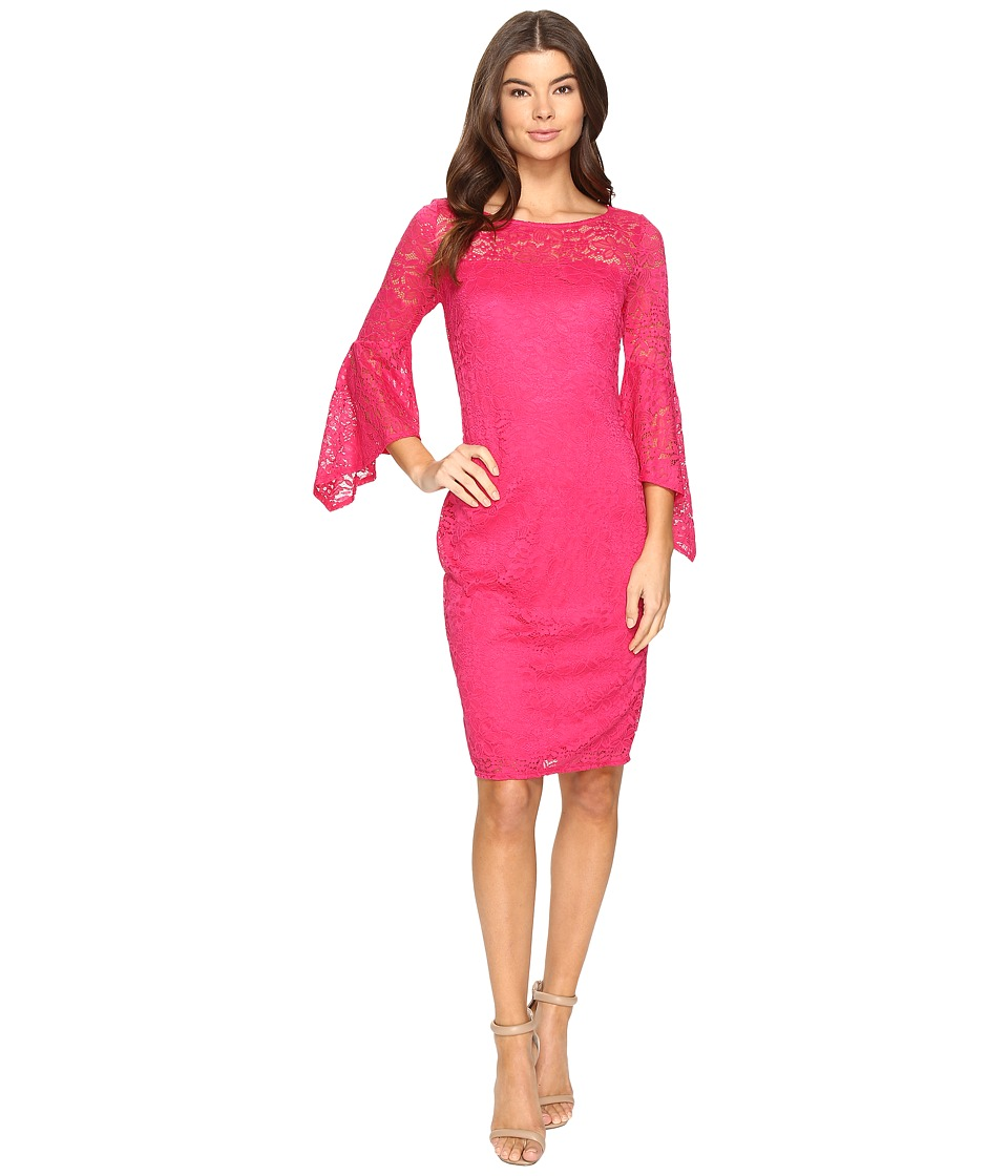 Laundry by Shelli Segal Bell Sleeve Lace Cocktail Dress (Raspberry) Women