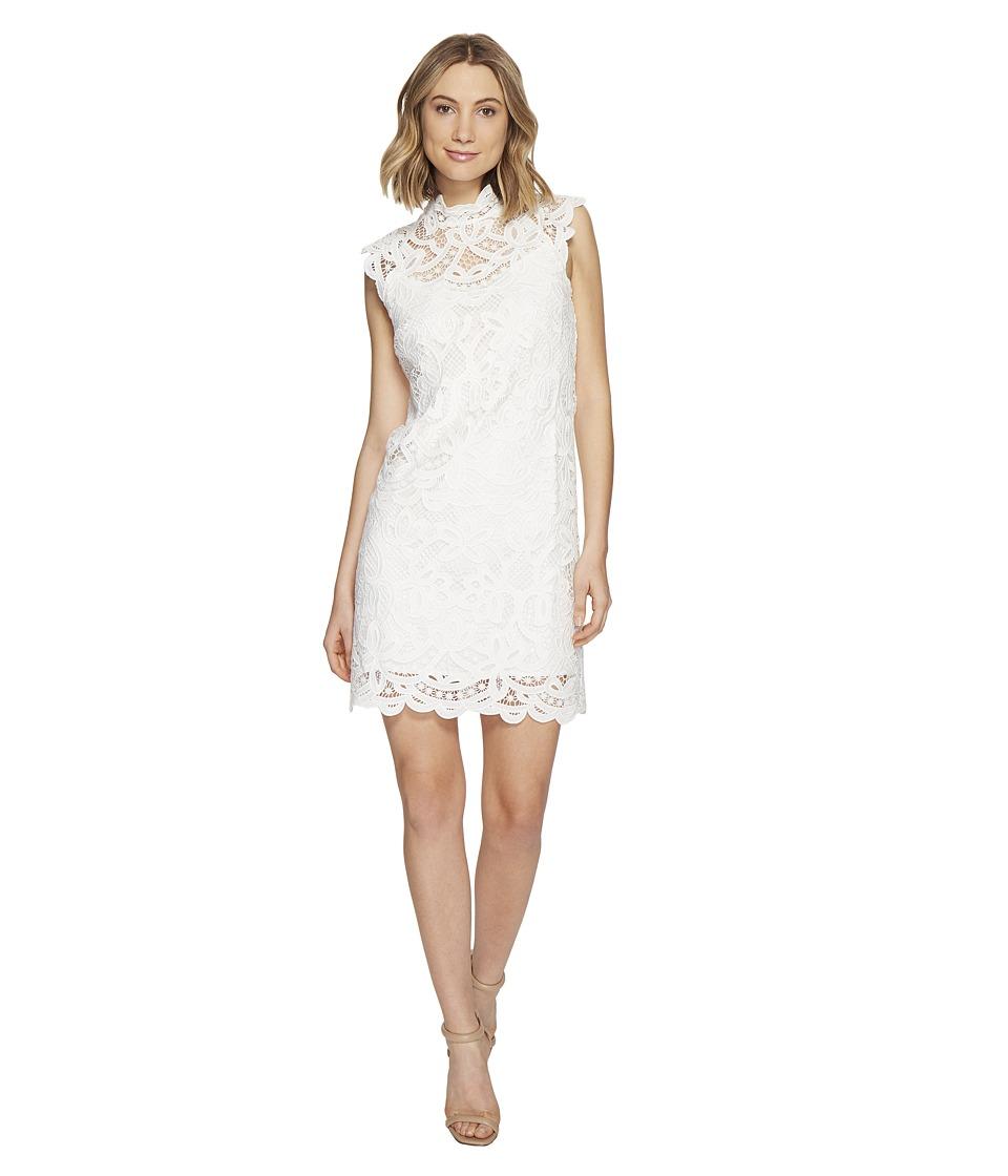 Laundry by Shelli Segal - Mock Neck Venise Dress w/ Scallop Detail (Optic White) Women's Dress